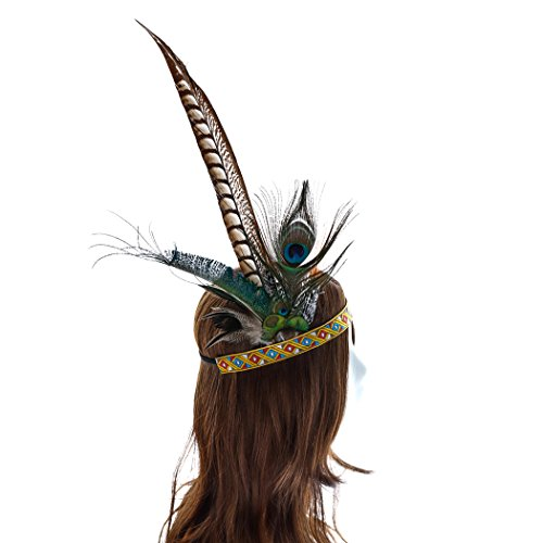 Aukmla Indian Headband Feather Headress Costume Headpiece for Any Size Photo Prop Fancy Party - Princess Indian Head