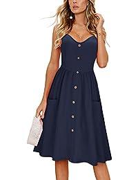 Women's Summer Sundress Spaghetti Strap Button Down Dress with Pockets