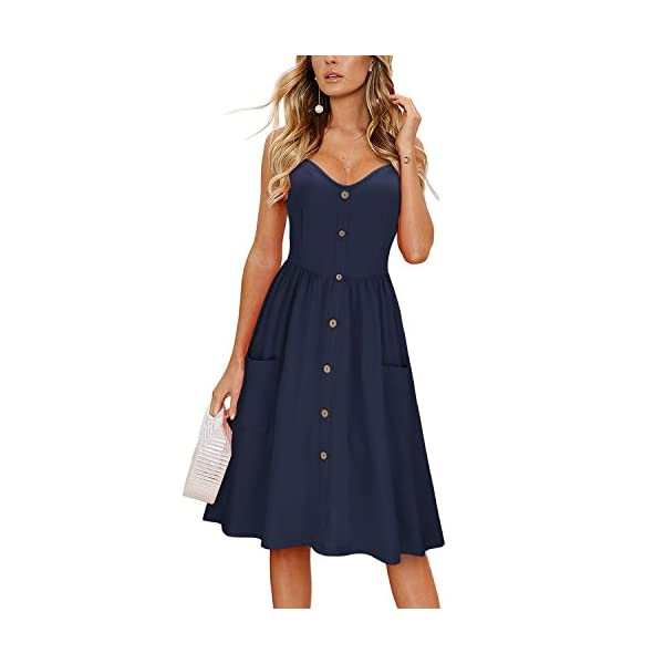 KILIG Women's Summer Floral Dress Spaghetti Strap Button Down Sundress with Pockets