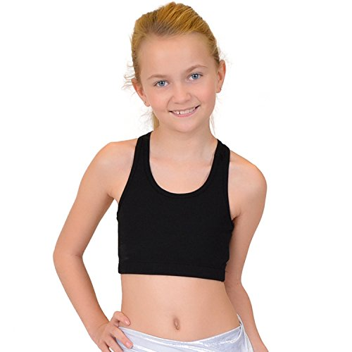 Stretch is Comfort Girl's Cotton Sports Bras Black Small For Sale