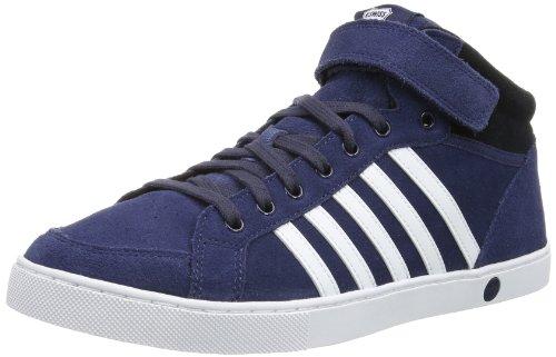 K-Swiss ADCOURT '72 SO MID STRAP SDE - Zapatillas de caña alta de cuero hombre azul - Blau (Mood Indigo/White/Black)