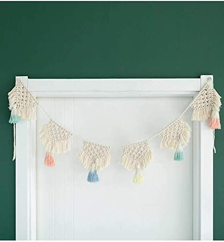 Baby or Children Room or Party Decoration Nursery Macrame Color Woven Cotton Rope Handmade Fringe Tassel Banner Garland Hanging Wall Tapestry Boho Home Decor for Apartment Bedroom