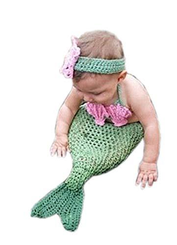 Pinbo Baby Girls Photography Prop Cute Animal Mermaid Knitted Crochet Costume Headband Bra Tail -