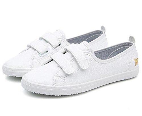 KUKI Frau flache Schuhe niedrig zu helfen Velcro Casual Schuhe white