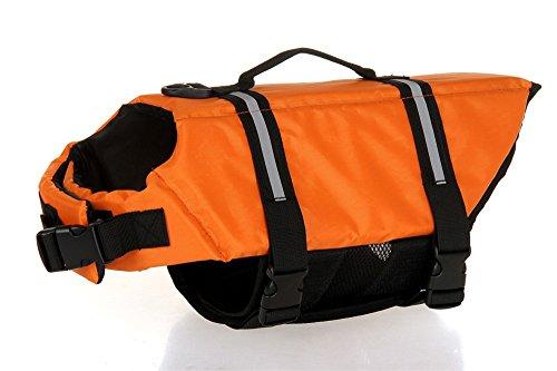 Dog Life Jacket Safety Reflective Vest Pet Life Preserver (Orange, S)