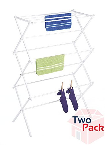 Whitmor 6023-741 Folding Clothes Drying Rack, White Pack of