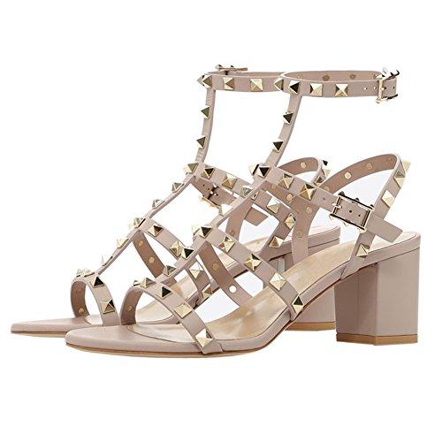 MERUMOTE Women's T-Straps Strappy Classic Rivet Sandals Block Heel Shoes Apricot pcZlZQsY