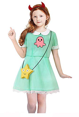 (Yunbei Star vs The Forces of Evil Girl's Princess Star Butterfly Cosplay Costume Children Dress (L,)
