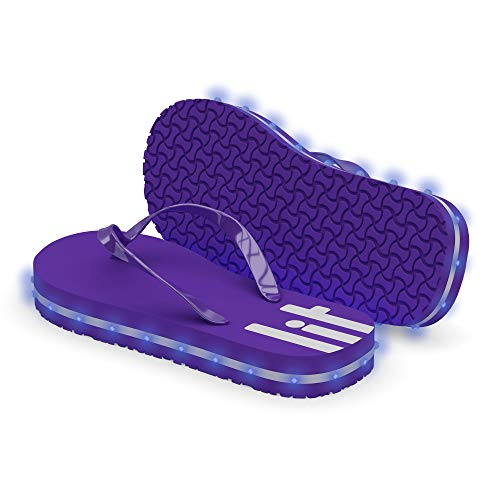 LITFLIP Women's LED Lighted Flip-Flop Sandals with Double USB Recharging Cable Purple -