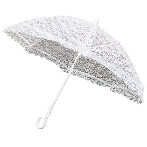 Homeford FNS0000003353WHT Lace Parasol Umbrella for Bride in Wedding, 20