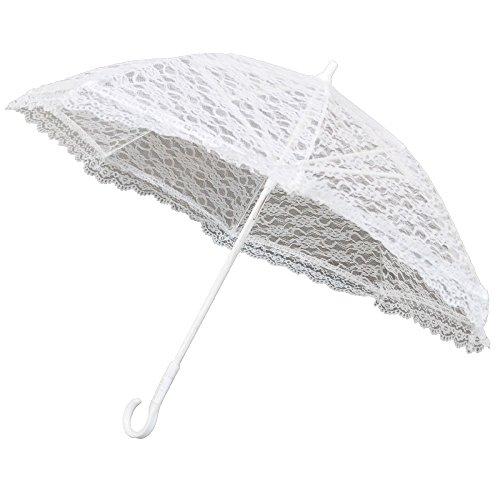 (Homeford FNS0000003353WHT Lace Parasol Umbrella for Bride in Wedding, 20