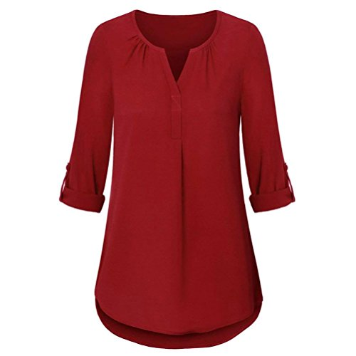 Clearance Blouse Tops Womens Roll-Up Layered