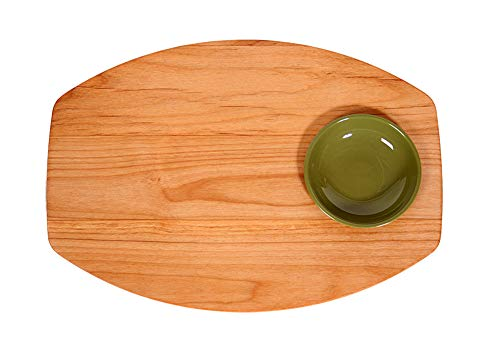 Out of the Woods of Oregon Single Bread and Oil Board with Dipping Bowl, Green