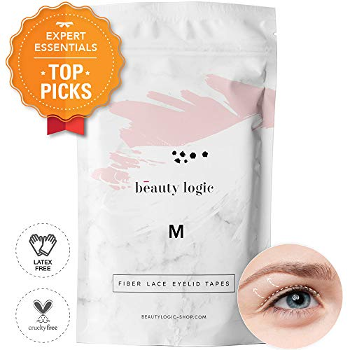 Beauty Logic USA Ultra Invisible Fiber Lace Eyelid Lift Kit 120pcs Blends In With Skin No Glare Non Surgical Instant Eyelid Lifting For Hooded Droopy Uneven Mono-Eyelids Latex Free Adhesive, Medium