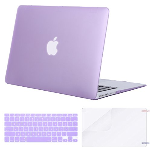 MOSISO Plastic Hard Shell Case & Keyboard Cover & Screen Protector Compatible MacBook Air 11 Inch (Models: A1370 & A1465), Purple