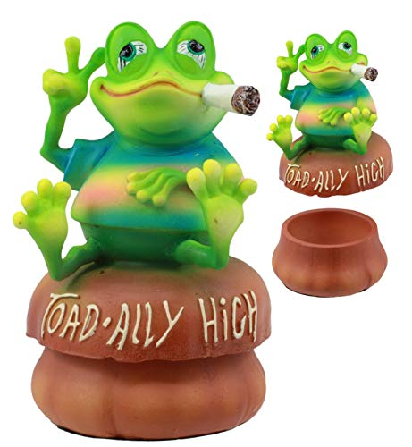 ShopForAllYou Figurines and Statues Toadally High Smoking Pot Frog Sitting On Mushroom Decorative Jewelry Box Statue (Dragon Smoking Statue)