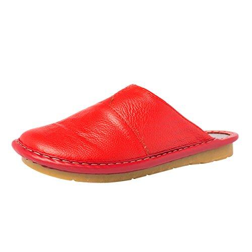 Haisum Sl-8808-w - Zapatillas de estar por casa de Piel Sintética para mujer Red