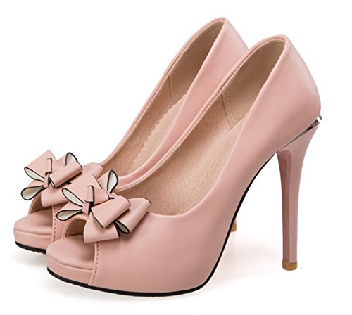 Noeud Nouveau Plateforme Toe Femme Rose Aisun Peep Sandales q8IAwyU