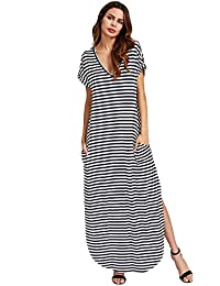 969abd5abd Women s V Neck Side Pockets Split Hem Beach Long Maxi Dress