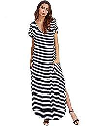 Verdusa Women's V Neck Side Pockets Split Hem Beach Long Maxi Dress