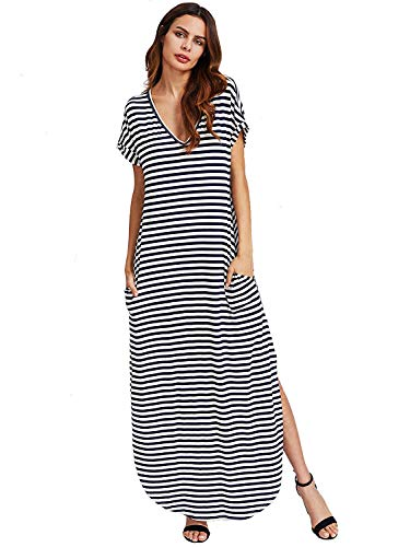 Verdusa Women's V Neck Side Pockets Split Hem Beach Long Maxi Dress Navy&White XL