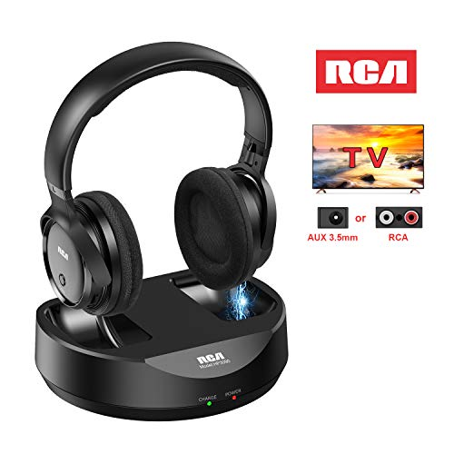 RCA Wireless TV Headphones, Over Ear Headphones for TV Watching, PC Phone MP3 iPod VCD DVD, Headphones for Seniors Hard of Hearing, 148ft/45M Range, Rechargeable and Adjustable (Connect Lg Smart Tv To Wifi Without Remote)