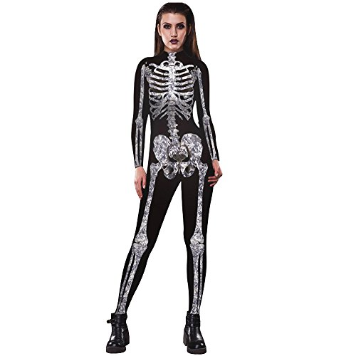 KESE ☀☀ Scary Skeleton Bones Halloween Cosplay Bodycon Party Fancy Halloween Costume (M, (Anti Halloween Costumes)