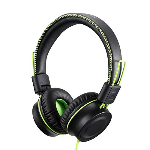 POWMEE M2 Kids Headphones Wired Headphone for Kids,Foldable Adjustable Stereo Tangle-Free,3.5MM Jack Wire Cord On-Ear Headphone for Children/Teens/Girls/School/Kindle/Airplane/Plane/ (Black) (Black Girl Best Head)