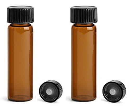 MagnaKoys 4 Dram 1/2 oz Amber Glass Vials with Black Phenolic Cone Lined Caps for Essential Oils & Liquids (Pack of 7)