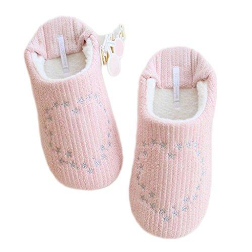 Fortuning's JDS Donne delle ragazze delle signore del velluto Accogliente vello casa Calzature Rosa Stella amore-cuore comodo pantofole