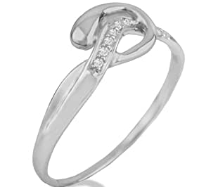 Anillo hebilla blanco de 9 ct de oro y diamantes CARASHOP