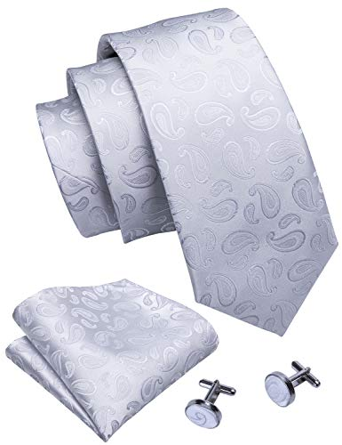 Barry.Wang White Paisley Ties Pocket Square Cufflinks Set Wedding Necktie Set