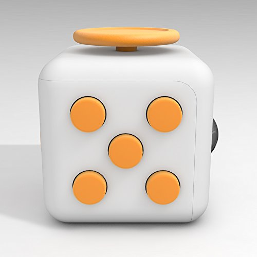 D-JOY Cube Fidget Toy Cube Relieves Stress and Anxiety Attention Toy for Work, Class, Home (White Yellow)