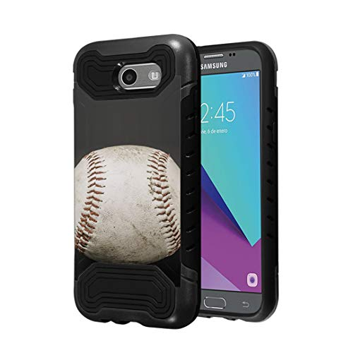 Capsule Case Compatible with Samsung Galaxy J7 Prime, J7 Perx, J7 Sky Pro, J7 V, Galaxy Halo [Quantum Dual Layer Slim Case Black] for Galaxy J7 SM-J727 Year 2017 - (Baseball)