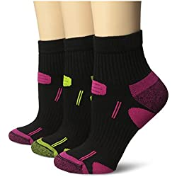 Dr. Scholl's Women's 3 Pack Health Strides Tri-Zone Ankle Socks, Black, Shoe Size 4-10/Sock Size 9-11
