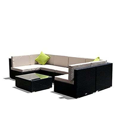 "AECOJOY 7 Piece Outdoor Patio PE Rattan Wicker Sofa Cushioned Sectional Furniture Set (7 Pieces, Black) - 7 pieces consist of 2 corner sofas, 4 single sofas, 1 coffee table, seat cushions, no pillows. Seating Height(with seat cushion): approximately 17"" MATERIAL: Built of rust-resistant steel frame with durable PE rattan wicker for long time use. - patio-furniture, patio, conversation-sets - 41OuVbHaLuL. SS400  -"