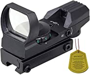 """MAYMOC Red and Green Reflex Sight with 4 Reticles, 3/8"""" Dovetail Mount for Airgun Airsoft 11mm Rail and ."""