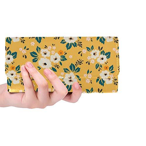 Unique Custom Elegant Floral Small White Flower Women Trifold Wallet Long Purse Credit Card Holder Case Handbag