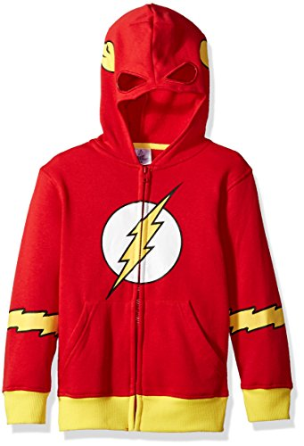 DC Comics Big Boys' Flash Fleece Zip Costume Hoodie, Red, Small-10