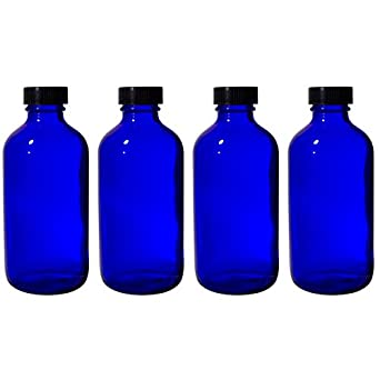 186fd6b01884 8 oz Cobalt Blue Glass Boston Round Bottle with Black Phenolic Cone Lined  Caps (4 Pack)
