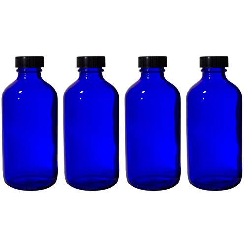 8 oz Cobalt Blue Glass Boston Round Bottle with Black Phenolic Cone Lined Caps (4 ()