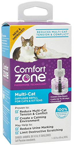 - Comfort Zone Multi-Cat Diffuser Refill for Cats 48 milliliters, 1 Month Supply, 3 Pack