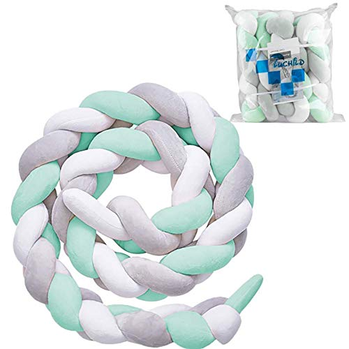 (Luchild Baby Braided Crib Bumper Soft Snake Pillow Protective & Decorative Long Baby Nursery Bedding Cushion Knot Plush Pillow for Toddler/Newborn (White+Grey+Green))