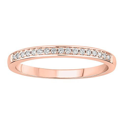 0.14 cttw 10k Gold Round I-J White Diamond Ladies Anniversary Wedding Band Stackable Ring (rose-gold, 6.5) by eSparkle