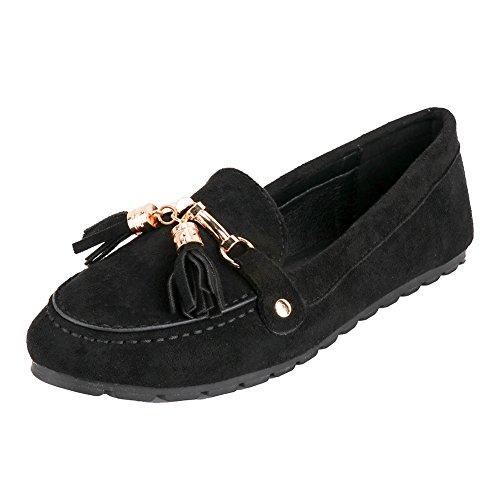 Meeshine Femmes Daim Frange Slip-on Pantoufles Mocassins Confort Décontracté  Chaussures De Conduite Noir 8ab92cbaa245