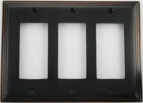 Deco Step Style Oil Rubbed Bronze 3 Gang GFI/Rocker Wall Plate by Classic Accents