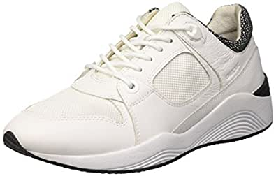 GEOX Womens Trainers D Omaya A Leather Casual Shoes - White-10