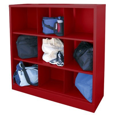 Sandusky Lee IC00461852-01 Heavy Duty Welded All Steel Cubby Storage Cabinet with 9 Sections, 46'' Length x 18'' Width x 52'' Height, Red