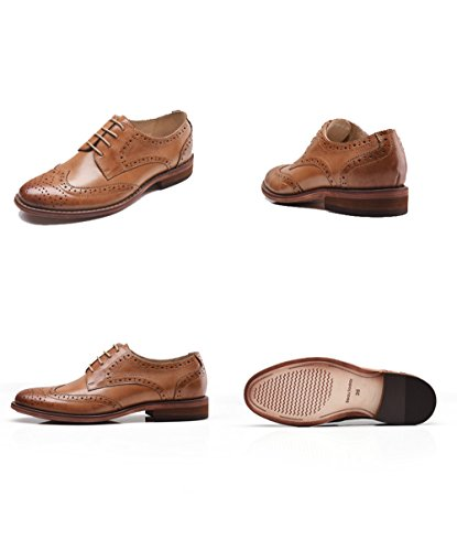 U-lite Brown Perforated Lace-up Wingtip Leather Flat Oxfords Vintage Oxford shoe Women 8 br