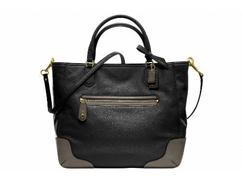 COACH Poppy Colorblock Leather Small Blaire Tote , Black